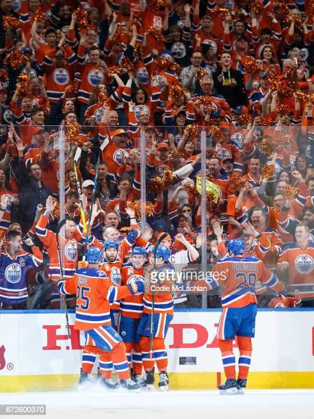 Darnell Nurse Patrick Maroon Connor McDavid Matthew Benning and Leon Draisaitl of the Edmonton Oilers celebrate Maroon's goal against the San Jose...