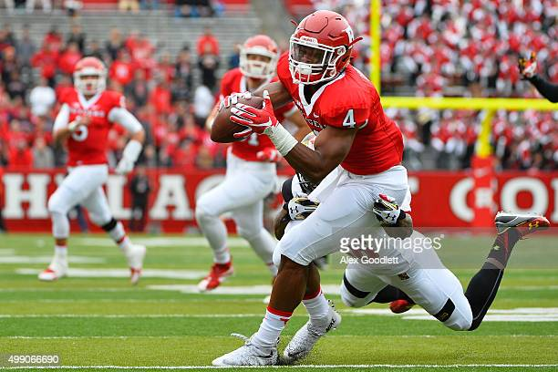 Darnell Savage Jr #26 of the Maryland Terrapins attempts to tackle Leonte Carroo of the Rutgers Scarlet Knights during a game at High Point Solutions...