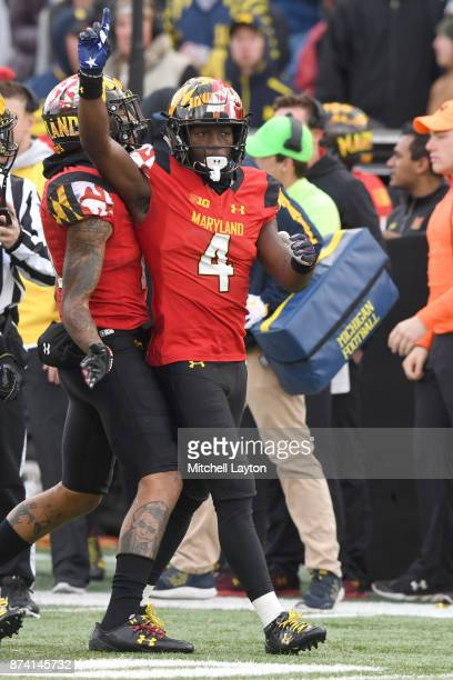 Darnell Savage Jr #4 of the Maryland Terrapins celebrates a play during a college football game against the Michigan Wolverines at Capitol One Field...