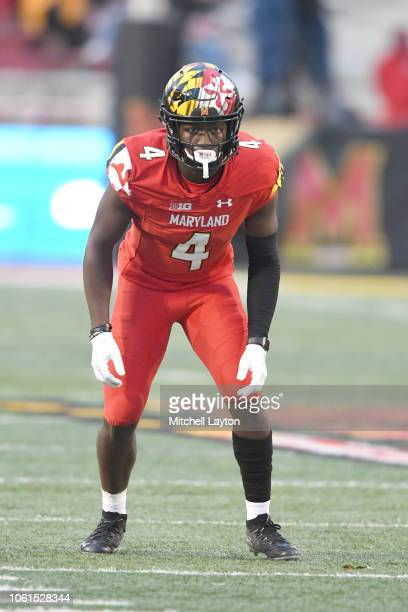 Darnell Savage Jr #4 of the Maryland Terrapins in position during a college football game against the Illinois Fighting Illini at Capitol One Field...