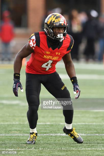 Darnell Savage Jr #4 of the Maryland Terrapins in position during a college football game against the Michigan Wolverines at Capitol One Field on...