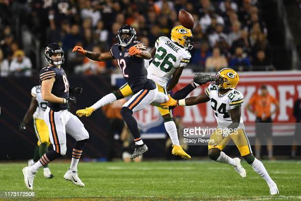 Darnell Savage of the Green Bay Packers defends a pass intended for Allen Robinson of the Chicago Bears during a game at Soldier Field on September...