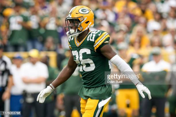 Darnell Savage of the Green Bay Packers lines up for a play in the second quarter against the Minnesota Vikings at Lambeau Field on September 15 2019...