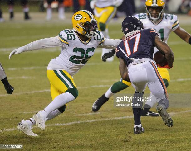 Darnell Savage of the Green Bay Packers moves to tackle Anthony Miller of the Chicago Bears at Soldier Field on January 03, 2021 in Chicago,...