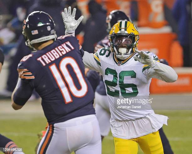 Darnell Savage of the Green Bay Packers rushes against Mitchell Trubisky of the Chicago Bears at Soldier Field on January 03, 2021 in Chicago,...