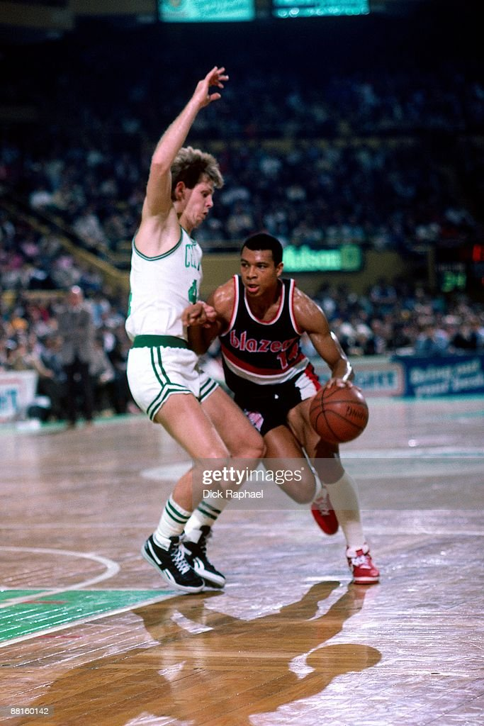 Darnell Valentine Of The Portland Trail Blazers Moves The Ball Against  Danny Ainge Of The Boston