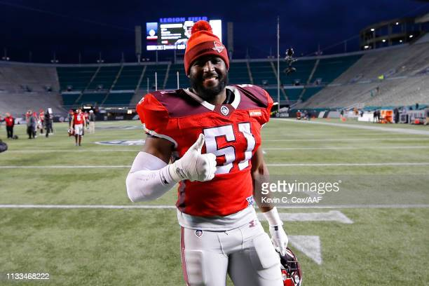 DarnellLeslie of the San Antonio Commanders reacts after defeating the Birmingham Iron 12-11 in an Alliance of American Football game at Legion...