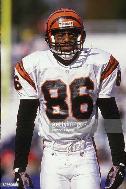 Darney Scott of the Cincinnati Bengals before a NFL football game against the Baltimore Ravens on December 8 1996 at Memorial Stadium in Baltimore...