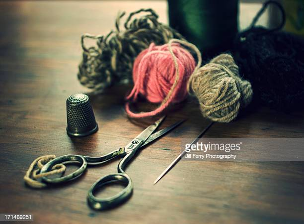 darning - thimble stock photos and pictures