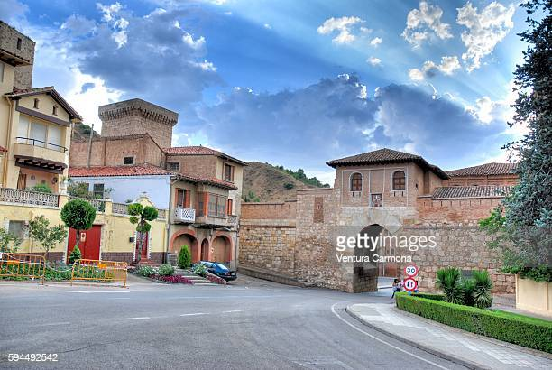 daroca city gate (puerta alta) - zaragoza province stock pictures, royalty-free photos & images