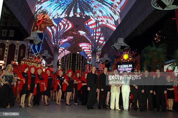 Darol Carlson Rhonda Fleming and Johnny Brenden during CineVegas Film Festival 2005 Las Vegas Showgirls Party at Fremont Street in Las Vegas Nevada...
