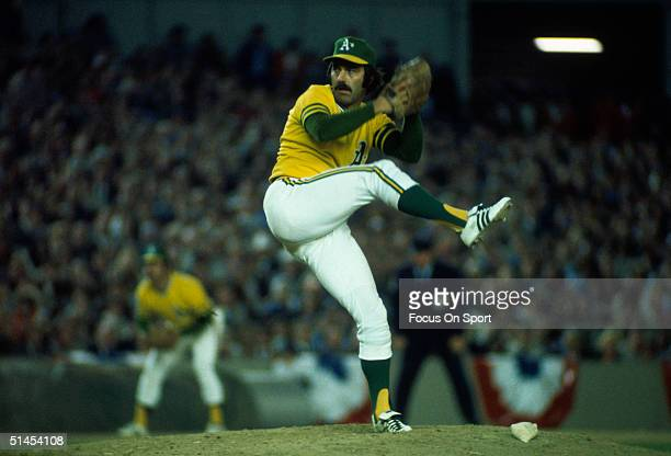 Darold Knowles of the Oakland Athletics pitches against the New York Mets during the World Series at Shea Stadium in Flushing New York in October of...