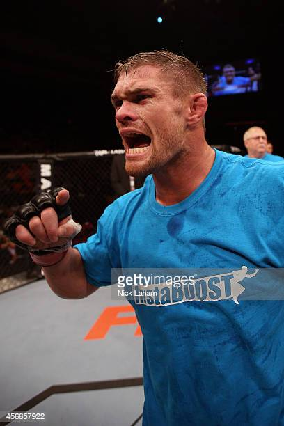 Daron Cruickshank celebrates after defeating Anthony Njokuani in their lightweight bout at the Scotiabank Centre on October 4 2014 in Halifax Nova...