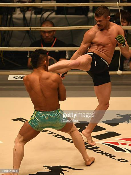 Daron Cruickshank of the United States kicks Satoru Kitaoka of Japan in the bout during the RIZIN Fighting World GP 2016 second round at Saitama...