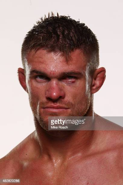 Daron Cruickshank poses for a postfight portrait backstage during the UFC Fight Night event at the SAP Center on July 26 2014 in San Jose California