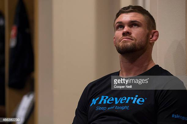 Daron Cruickshank waits backstage before his fight against Beneil Dariush during UFC 185 at the American Airlines Center on March 14 2015 in Dallas...