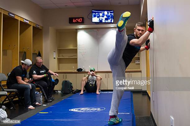 Daron Cruickshank warms up backstage before his fight against Beneil Dariush during UFC 185 at the American Airlines Center on March 14 2015 in...