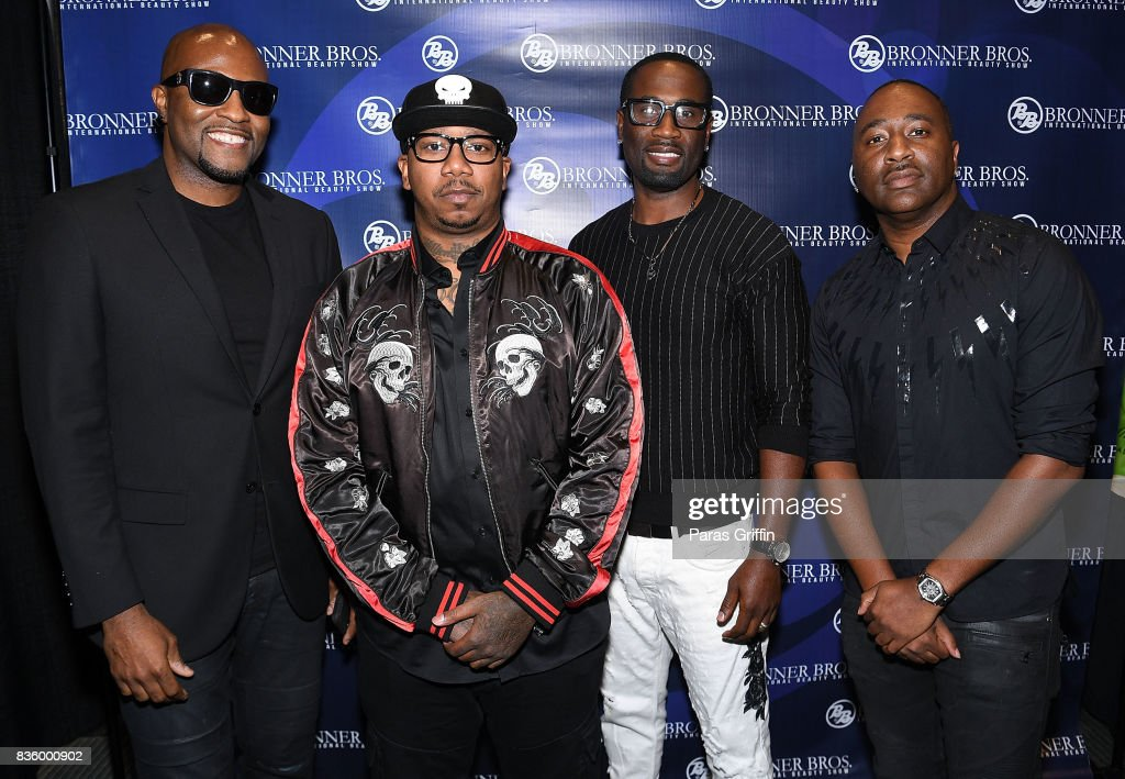 Daron Jones, Michael Keith, Quinnes 'Q' Parker, and Marvin 'Slim' Scandrick of 112 at 70th Anniversary Bronner Brothers International Beauty Show Georgia World Congress Center on August 20, 2017 in Atlanta, Georgia.