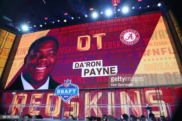Da'Ron Payne on the video board after being chosen by the Washington Redskins with the thirteenth pick during the first round at the 2018 NFL Draft...