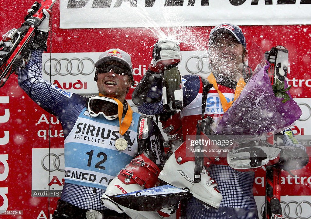 Daron Rahlves #12 and Bode Miller #7 celebrate on the winner's podium during FIS Alpine Skiing World Cup giant slalom race on December 3, 2005 on Birds of Prey at Beaver Creek in Avon, Colorado. Rahlves placed second overall and Miller placed first overall.