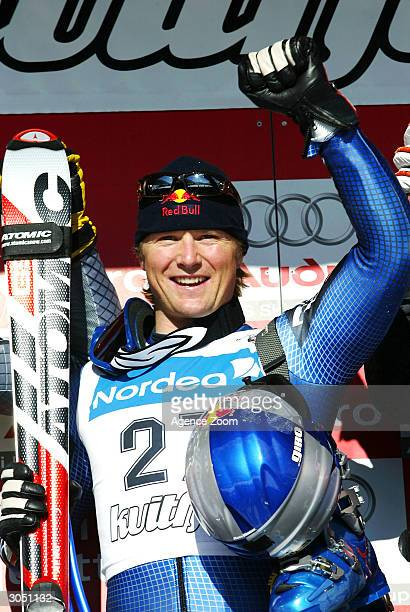 Daron Rahlves of the USA celebrates after winning the Men's Super-G during the FIS Alpine Ski World Cup on March 7 in Kvitfjell, Norway. Rahlves won...
