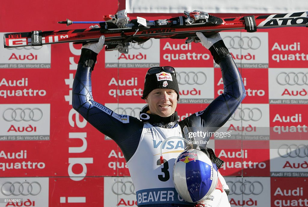 Daron Rahlves #31 of the USA celebrates on the podium after taking second place in the mens World Cup Downhill on December 3, 2004 on the Birds of Prey course at Beaver Creek, Colorado.