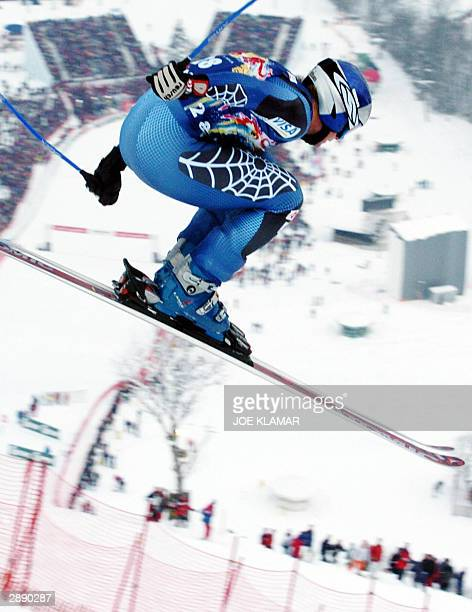 Daron Rahlves of the USA flies through the most difficult part of the Hahnenkamm during the men's FIS World Cup downhill in Kitzbuhel 22 January...