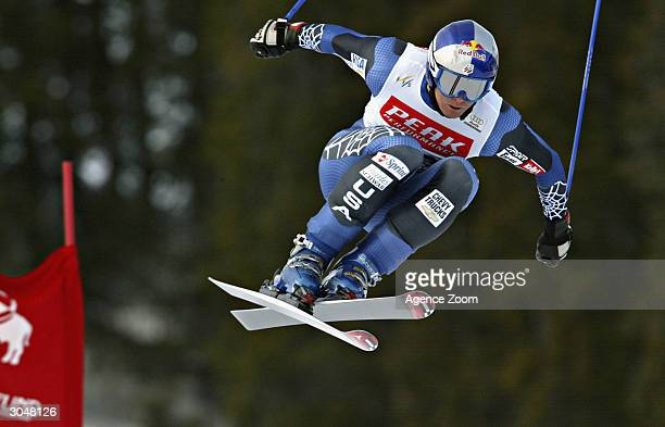 Daron Rahlves of the USA on his way to fourth place during the Mens Downhill Alpine Ski World Cup on March 6, 2004 in Kvitfjeff in Norway.