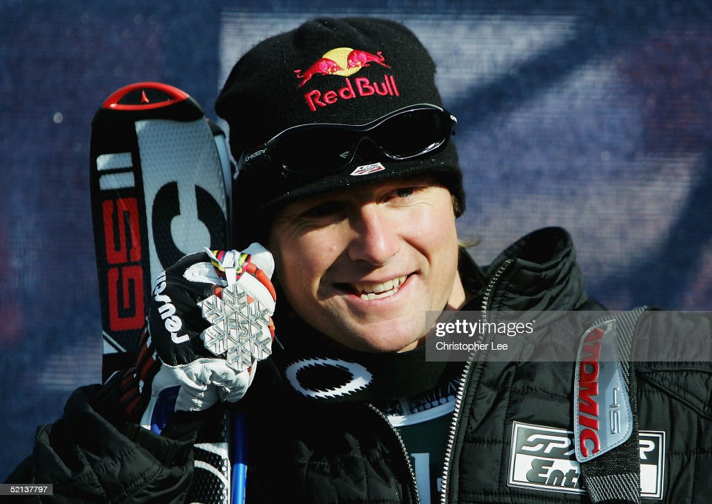 Daron Rahlves of the USA poses for the camera's with his Silver medal during his second place finish in the Mens Downhill at the FIS Alpine World Ski Championships 2005 on February 5, 2005 in Bormio, Italy.