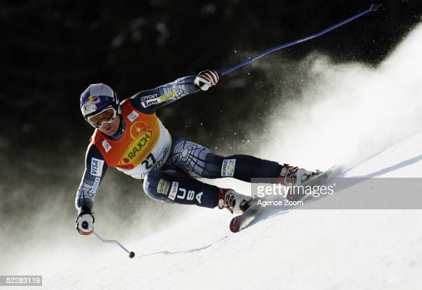 Daron Rahlves of USA celebrates after the FIS Ski World Cup Mens Super G event March 6, 2005 in Kvitfjell, Norway.