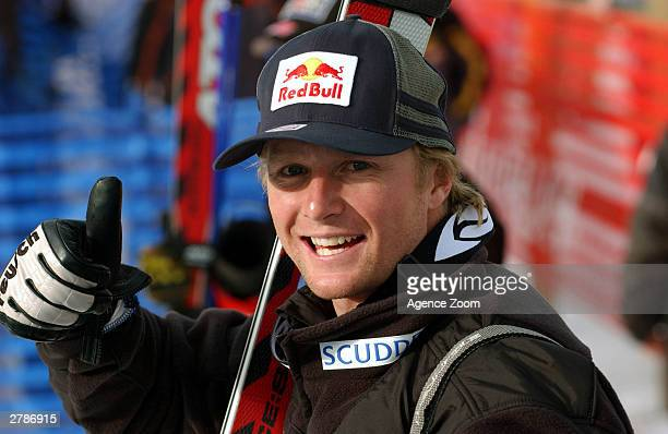 Daron Rahlves of USA celebrates his victory in the Men's Downhill during a Alpine World Cup Skiing event December 5, 2003 at Beaver Creek Mountain in...