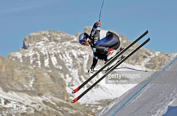 Daron Rhalves of the USA on a practice run prior to the FIS Alpine Ski World Cup Mens Downhill Event on December 16 2004 in Val Gardena Italy