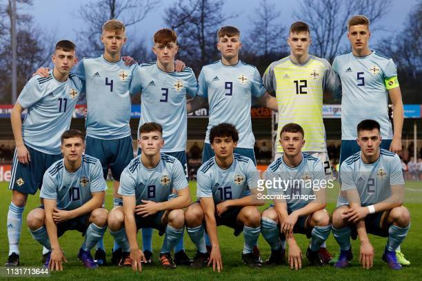 'SGRAVENZANDE NETHERLANDS MARCH 20 Darragh Burns of Northern Ireland U17 Carl Johnston of Northern Ireland U17 Kyle McClelland of Northern Ireland...