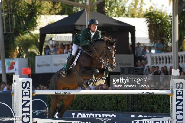 Darragh Kenny of Ireland riding Balou du Reventon during Longines FEI Jumping Nations Cup Final Competition on October 7 2018 in Barcelona Spain
