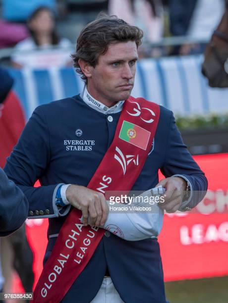 Darragh Kenny of winning team Paris Panthers at the end of 'CSI 5' GCL of Cascais Estoril Round 2 155/160m international jumping competition on June...
