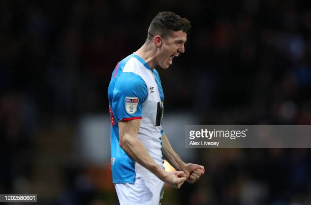 Darragh Lenihan of Blackburn Rovers celebrates after scoring their second goal during the Sky Bet Championship match between Blackburn Rovers and...
