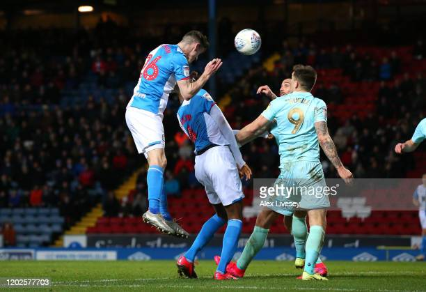 Darragh Lenihan of Blackburn Rovers scores their second goal during the Sky Bet Championship match between Blackburn Rovers and Queens Park Rangers...