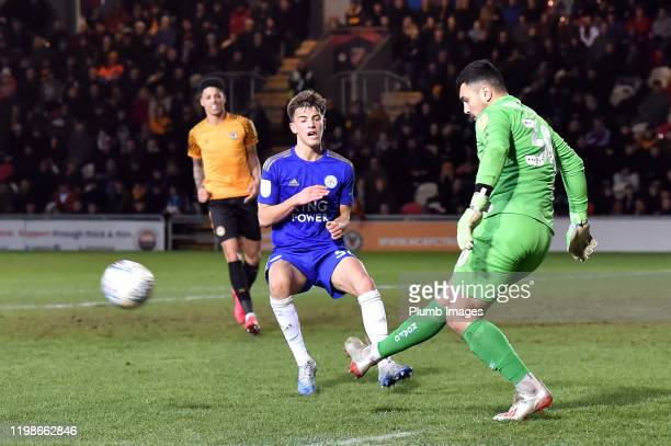 Darragh O'Connor of Leicester City during the Leasingcom quarter final match between Newport County and Leicester City U21 at Rodney Parade on...