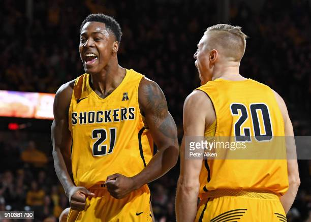 Darral Willis Jr #21 of the Wichita State Shockers reacts after scoring a basket against UCF Knights during the first half on January 25 2018 at...