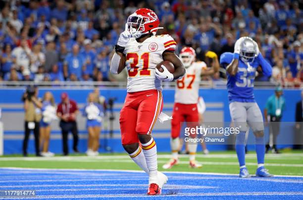 Darrel Williams of the Kansas City Chiefs celebrates after scoring a 1 yard touchdown against the Detroit Lions during the fourth quarter in the game...