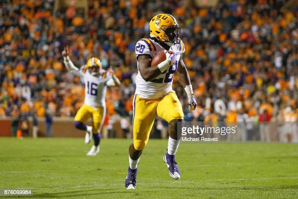 Darrel Williams of the LSU Tigers runs into the endzone to score a touchdown against the Tennessee Volunteers during the first half at Neyland...