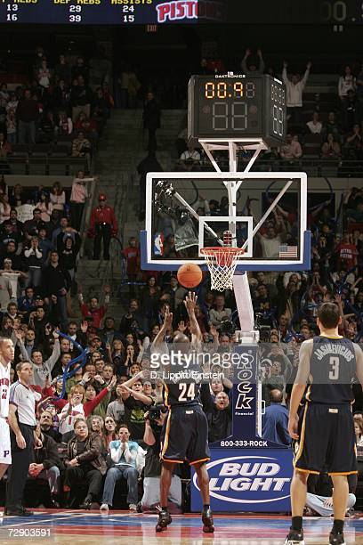 Darrell Armstrong of the Indiana Pacers shoots the game winning free throw against the Detroit Pistons at the Palace of Auburn Hills December 29 2006...