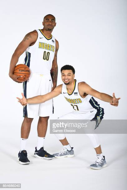 Darrell Arthur and Jamal Murray of the Denver Nuggets poses for a photo during media day on September 25 2017 at the Pepsi Center in Denver Colorado...