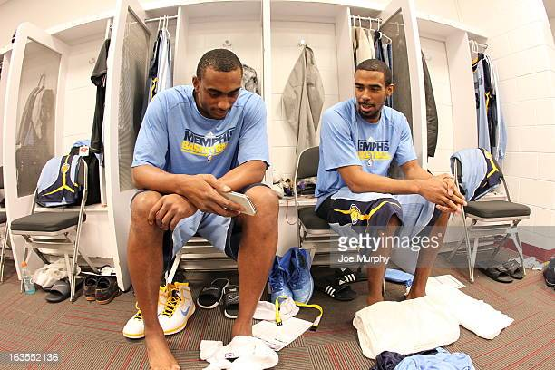 Darrell Arthur and Mike Conley of the Memphis Grizzlies in the locker room before the game against the Miami Heat on March 1 2013 at American...