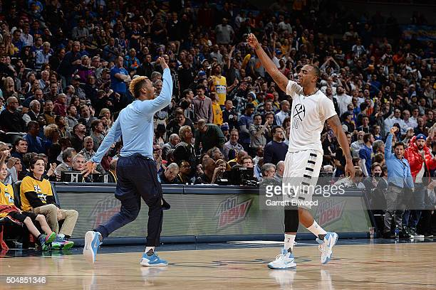 Darrell Arthur of the Denver Nuggets celebrates with his teammates during the game against the Golden State Warriors on January 13 2016 at the Pepsi...