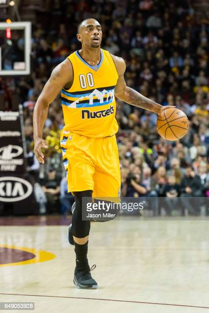 Darrell Arthur of the Denver Nuggets drives down the court during the first half against the Cleveland Cavaliers at Quicken Loans Arena on February...