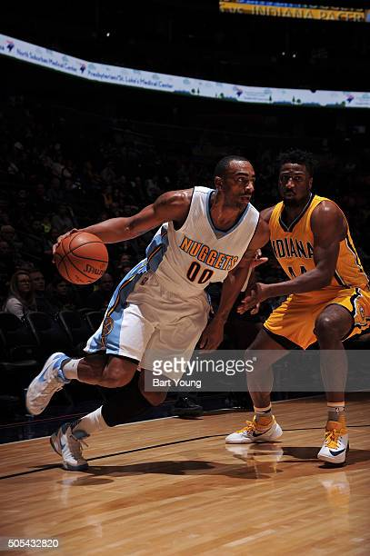 Darrell Arthur of the Denver Nuggets drives to the basket against the Indiana Pacers on January 17 2016 at the Pepsi Center in Denver Colorado NOTE...