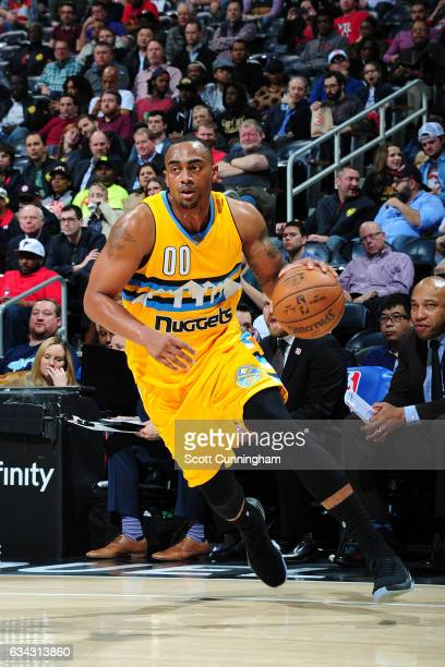Darrell Arthur of the Denver Nuggets drives to the basket against the Atlanta Hawks during the game on February 8 2017 at Philips Arena in Atlanta...