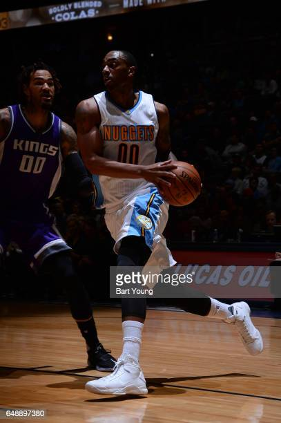 Darrell Arthur of the Denver Nuggets drives to the basket during the game against the Sacramento Kings on March 6 2017 at the Pepsi Center in Denver...