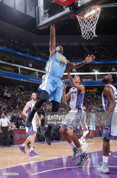 Darrell Arthur of the Denver Nuggets goes up for the shot against the Sacramento Kings on March 11 2017 at Golden 1 Center in Sacramento California...